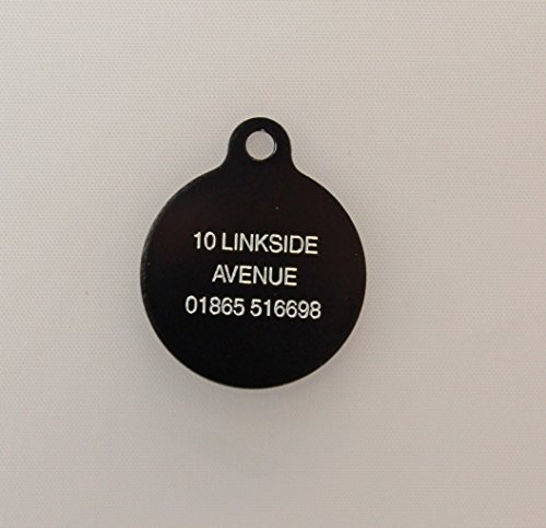 Pet ID Tag - Circle Disc Double Sided Engraved Tag - 25mm / 25mm 4 Colours (BLACK)