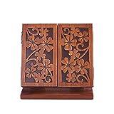 Spiegel Kosmetikspiegel Schminkspiegel Tischspiegel Make Up Spiegel Solid Wood Retro Dreiseitige Spiegelfalte ZHANGAIZHEN (Farbe : Antique Color)