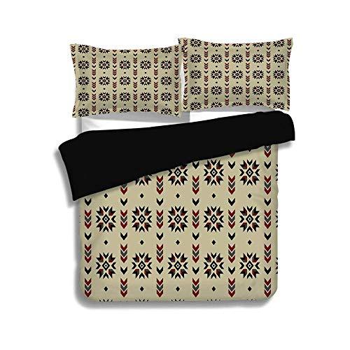 Schwarzer Bettbezug Set, ethnische, Stammes-Chevron farbige Blumen wie geometrische Streifen Artwork Bild, braun schwarz und Kastanienbraun, dekorative 3 Stück Bettwäsche Set von 2 Pillow Shams, TWIN- (Twin Bettwäsche Für Mädchen Chevron)