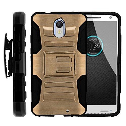 turtlearmor | Motorola Droid Turbo 2Fall | Moto X Force | Kinzie [Hyper Schock] Hybrid Dual Layer Rüstung Holster Gürtel Clip Case Ständer -, Maple Wood