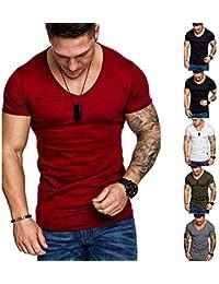 0d3c227691ec mDIycbd Everrikle T- Shirts for Men Men s Summer Solid Color Slant Line V  Neck Short