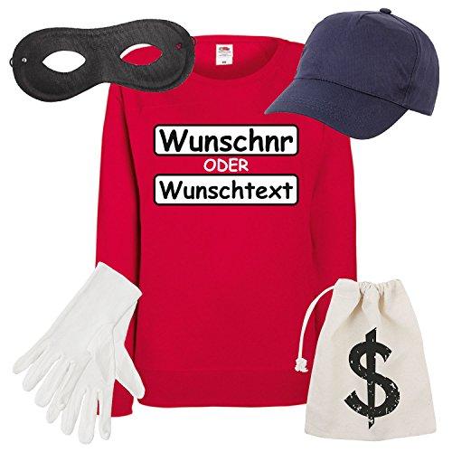 Shirt-Panda Damen Sweatshirt Panzerknacker Set Kostüm mit Wunschnummer-STANDARDNUMMER Verkleidung SET16 Sweater/WN/Cap/Maske/Handschuhe/Beutel M