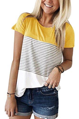 Damen T Shirt Lässig Rundhals T-Shirt Schwarz-Weiß Gestreift Oberteile Tops Gelb XXL -