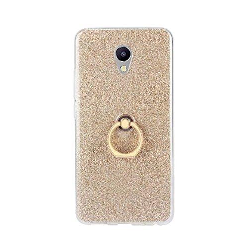 EKINHUI Case Cover Soft Flexible TPU Back Cover Case Shockproof Schutzhülle mit Bling Glitter Sparkles und Kickstand für Meizu Meilan HINWEIS 5 ( Color : Pink ) Gold