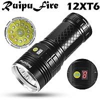 Happy Event ruipufire 12x XM-L T6LED Indicadores batería linterna para camping, senderismo, ciclismo, Not casos, Exterior, LED Display battery Flash Ligt