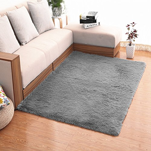 Tapis de laine de soie plaine contemporain de tapis, approprié au canapé latéral de fenêtre de chambre à coucher de salon de table basse ( Color : Gray , Size : 0.8*2M )