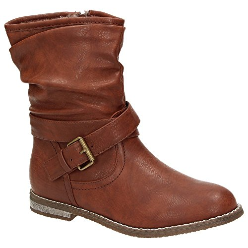 Claudia Ghizzani  1475086, Bottes Motardes fille Marron - Marron