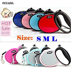 Generic light blue, L : 2017 Small Medium Big Pet Dog Automatic Retractable dog leash lead Collar Harness 25kg 30kg 40kg Red Blue Pink Nylon 5M