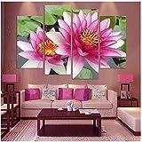 Images murales murales Botanical Lotus Rose Rouge Feng Shuisur Toile, Le Tableau de décoration de Salon 30x60cmx2 30x80cmx2 sans Cadre...