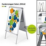 Hochwertiger Plakatständer DIN A2 | ✓ Kundenstopper | ✓ Werbetafel | ✓ Gehwegaufsteller Select (mit Alu-Klemmrahmen) von Vispronet®