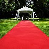 Jeteven Roter Teppich Eventteppich VIP Carpet Läufer hochzeitsteppich Polyester Red Carpet Hochzeit Deko Einweg (5m x 1m)