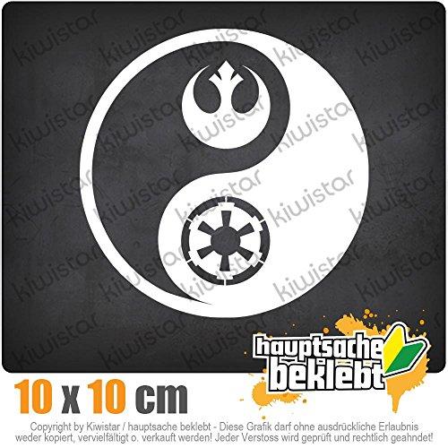KIWISTAR Jedi Sith - Yin und Yang 10 x 10 cm IN 15 FARBEN - Neon + Chrom! Sticker Aufkleber
