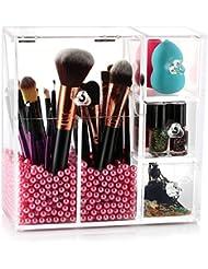 HBF Organisateur Acrylique Maquillage Pinceaux Boîte Cosmétique Coffret avec des Perles Roses…