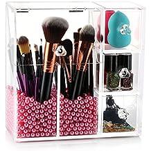 HBF Organizador De Maquillaje Y Brochas Acrilico Transparente Con Perla Rosa Organizador Maquillaje Pinceles Para organizar Esmalte De Uñas Pintalabios Pinceles Joyas
