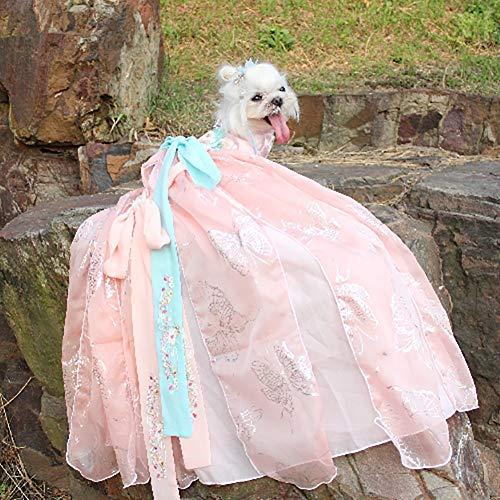 WHZWH Hund Abendkleid, Puppy Dog Princess Kleider Mehrschichtige Langen Rock Hanfu Retro-Stil Design Geeignet für Hochzeitsfoto Festival Party, Pink,XL