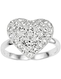 Ornami Silver White Crystal Heart Fancy Ring