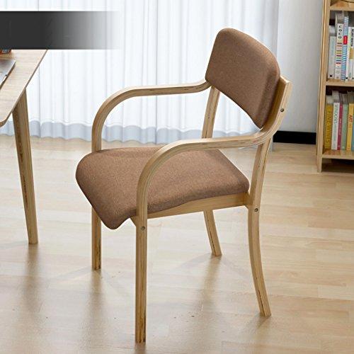 Einfache Nordic Massivholz Esszimmer Stuhl Modern Minimalist Schreibtisch Stuhl Single Casual Holzstuhl Stoff Sofa Stuhl Bürostuhl, Baumwolle Kissen Barhocker / Tischhocker ( Farbe : B ) -