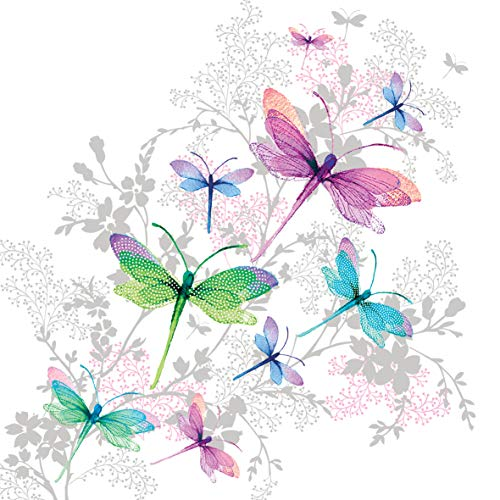 Home Collection Servietten (2er Set / 40Stück) 3-lagig 33x33cm Libellen Dragonfly -