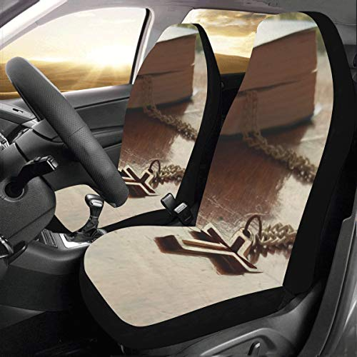 Price comparison product image Christian Jesus Cross Faith Book Custom New Universal Fit Auto Drive Car Seat Covers Protector For Women Automobile Jeep Truck Suv Vehicle Full Set Accessories For Adult Baby (set Of 2 Front)