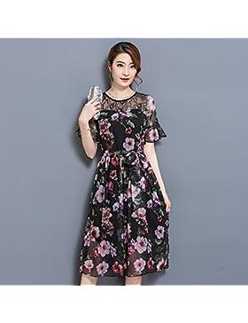 Elegante falda de manga corta de encaje vestidos de gasa costuras,XL,PALO