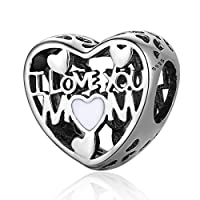 Love for Mother Charm, Silver Enamel 925 Sterling Silver Charms Fit Pandora & Other European Charm Bracelets