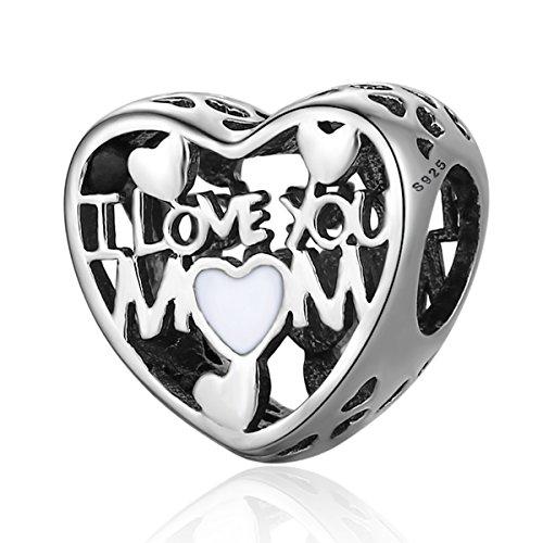 """Charm in smalto e argento sterling 925ideale per braccialetti pandora e altri braccialetti europei, motivo """"amore per la mamma"""""""