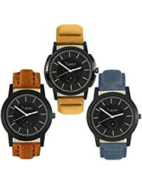 Talgo 2017 New Collection Foxter (combo Of 3) Black Round Shapped Dial Leather Strap Fashion Wrist Watch For Boys... - B0763TG1RL