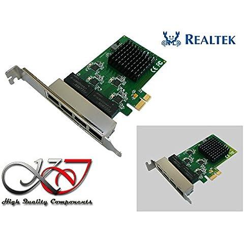 Kalea-Informatique–Tarjeta controladora PCI Express (PCIe)–4puertos RJ45Gigabit Ethernet 10/100/1000Mbps–cuádruple Chipset Realtek–equerres Low y High Profile–Windows Me, 98SE, 2000, XP, Vista, 7, 8.x, 10, Server 2003, 2008, 201232/64bit, Linux, Mac OS y dos