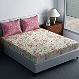 Spaces Essential 144 TC Cotton Double Bedsheet with 2 Pillow Covers - Abstract, Brick