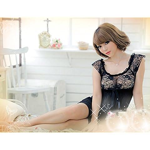 Toque Negro lencería romántica delgado hilo de Sophie y pijamas Regalos de los amantes de Navidad San Valentín