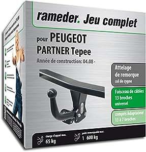 Rameder Attelage démontable avec Outil pour Peugeot Partner Tepee + Faisceau 13 Broches (160030-06738-1-FR)