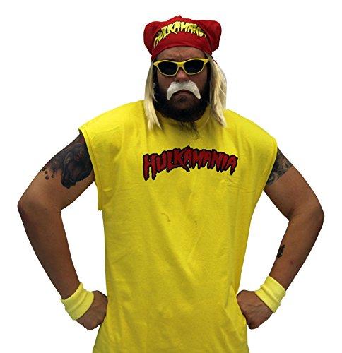 Hulk Hogan Hulkamania Complete Kostüm Set (XX-Large, Gelb Sunglasses/Rot Bandana)