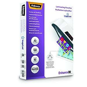 Fellowes 5306002 Pochettes de plastification A5 80 microns par 100 Transparent