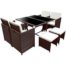 POLY RATTAN Essgruppe Rattan Set Mit Glastisch Garnitur Gartenmöbel  Sitzgruppe Lounge (4 Stühle, ...