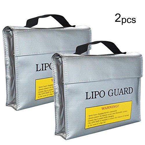 Amaoma 2 Stück Lipo Batterie Sicherer Beutel, Feuerfeste Explosionsschutz Lipo Battery Guard Tasche Sack, Gebühren Schutz Tasche, Modell Lithium Batterie Feuerfeste Tasche, Silber (L/9,4 * 2,5 * 7in) -