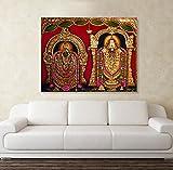 #4: PRINTELLIGENT Canvas Painting - Padmavathi Balaji Tanjore Canvas Painting Wall Painting - Canvas Art Unframed Tanjore Painting (Medium - 20 x 25 inch)