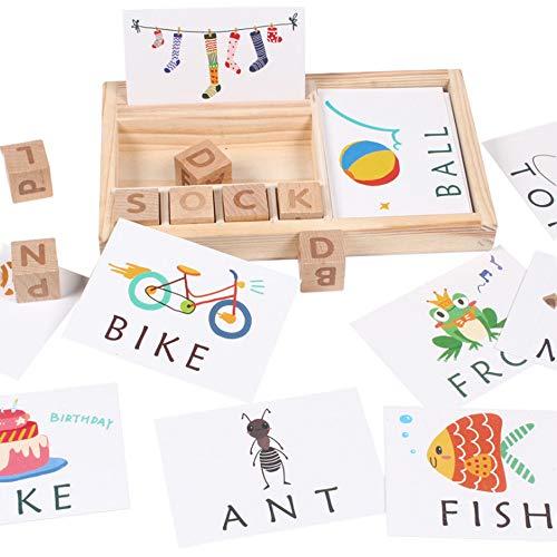 Vithconl Baby Spielzeug Hölzernes Englisches Rechtschreibungs Familienspiele Alphabet Buchstabe Spiel Frühe Lernende Pädagogische Spielzeug Kinder (Multicolor)