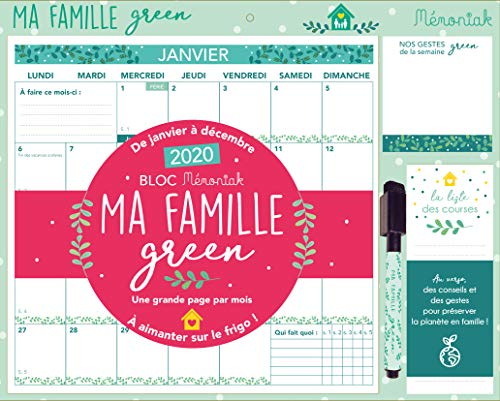Bloc Mémoniak Ma famille green : De janvier à décembre 2020