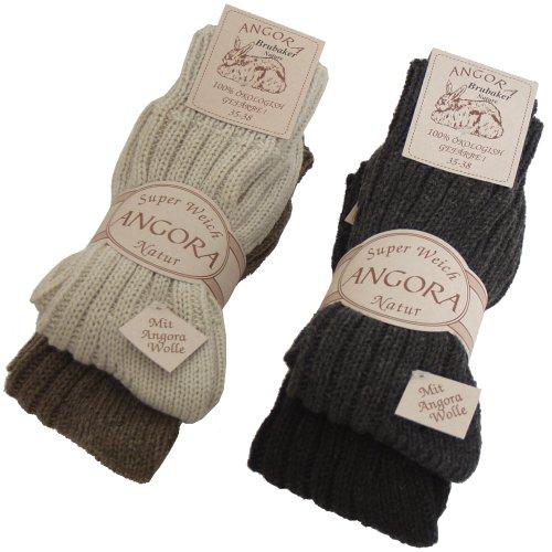 BRUBAKER lot de 4 paires de chaussettes en lambswool / angora pour les femmes et les hommes en quatre couleurs EU 43-46 Brubaker