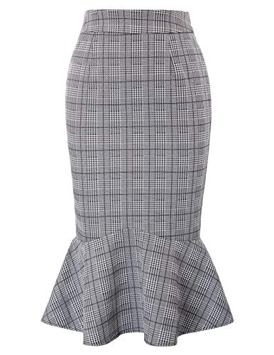 Occident Damenmode OL Büro Fishtail Bodycon Rock Skater Rock Tea Party Plaid-1 XL