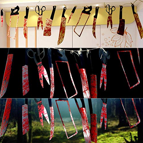Prosperveil Halloween Plastic Blood Knife Banners String Hanging Flags Pennant Bunting
