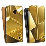 DeinDesign Nokia Lumia 630 Dual SIM Tasche Schutz Hülle Walletcase Bookstyle Goldbarren Gold Barren