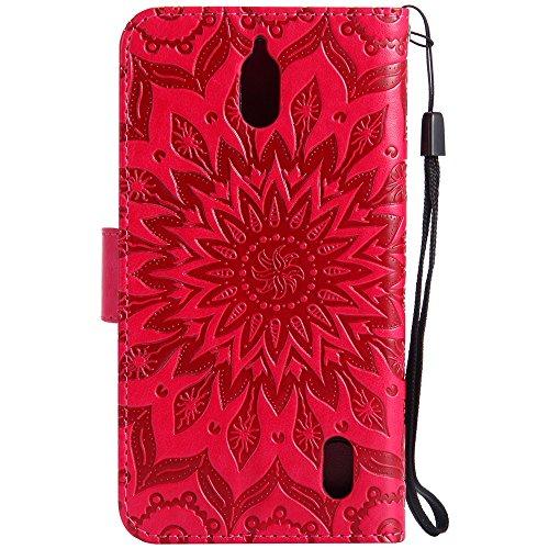 Für Huawei Y625 Fall, Prägen Sonnenblume Magnetische Muster Premium Weiche PU Leder Brieftasche Stand Case Cover mit Lanyard & Halter & Card Slots ( Color : Red ) Red