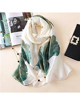 Muelle clásico Pañuelo de seda Flor de impresión brillante otoño mujeres cachemir chal ,Blanca,180*90 cm.