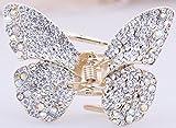 Bella Ladies Gifts metallo color oro farfalla capelli artiglio morsetto con strass di cristallo spille per capelli clip/Barrettes