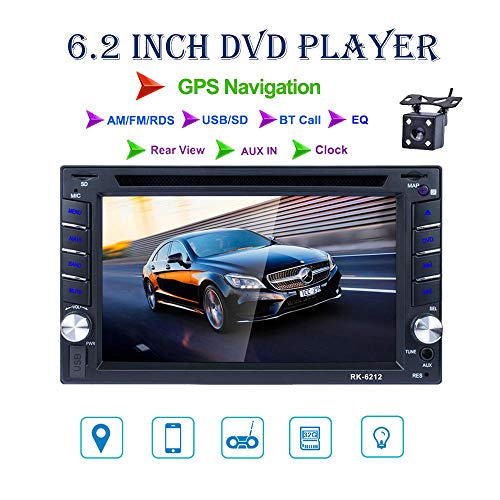 REAKOSOUND radio 2 din 6.2 pulgadas pantalla táctil de HD con GPS Navegador Blutooth FM Radio para coche apoyo AM/FM/DVD/USB/SD, AUX IN rear view