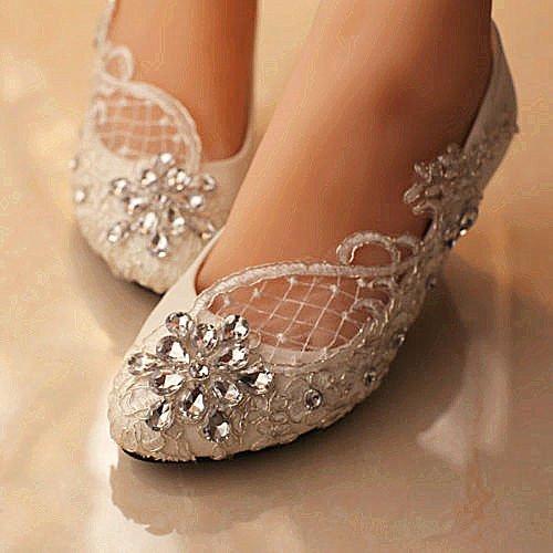 XINJING-S Spitze weiß elfenbein Kristall Hochzeit Schuhe Braut Wohnungen low High Heel pump Größe 5-12 5,5 cm Keil, iovry