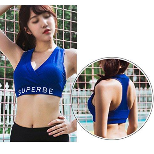 ZCJB Intimo Sportivo Femminile Antiurto Da Jogging Raccogliere Insieme Yoga Vest Reggiseno Sexy Ad Alta Resistenza ( Colore : Nero , dimensioni : Xl ) Blu