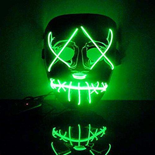 HKFV Halloween Horror leuchtende Maske Die Reinigung Film EL Draht DJ Party Festival Halloween Kostüm LED-Maske HQ New Maske - Halloween-filme Hoch