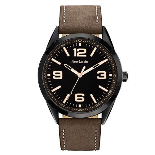 Pierre Lannier 212D434 - Reloj analógico de cuarzo para hombre, correa de cuero color marrón